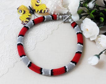 Red necklace choker Snake jewelry gift Bib necklace modern Beaded crochet Woman gift for mother Beadwork necklace gift Birthday gift sister