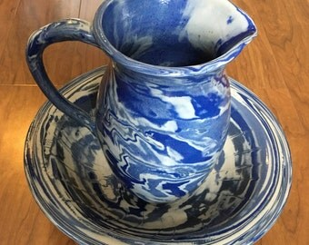 Beautifully hand crafted pitcher and water basin