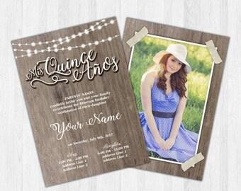 Printable Invitation - Quinceañera, Sweet 16, Rustic, Wood, Country, Barn, Ranch