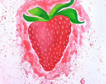 Strawberry Painting, Kitchen Wall Art, Colorful Kitchen Decor, Nursery Wall Art, Summer Art, Food Illustrations