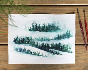 Watercolor winter forest painting, original watercolor painting, 9x12 painting, home decor, rustic home decor, misty trees painting