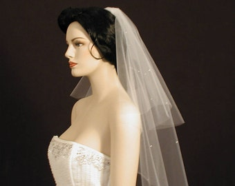 "2 Tier Scattered Pearls Wedding Veil -  18""/30"" long bridal veil with cut edge"