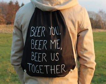 """Biers-Bag """"beer you, beer me, beer us together."""" From Simpsons-turn bag black-cotton-hand painted-beer homage"""