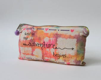 And so the adventure begins |Travel gift|Tie Dye Toiletry Zip Bag|Quote|Inspirational|Hippie Gift|Travel Gift|Birthday Gift|Christmas Gift