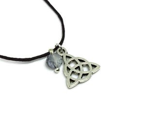 Celtic Knot Necklace (silver coloured pagan trinity knot triquetra wicca wiccan witch jewelry jewellery with blue glass bead short choker)