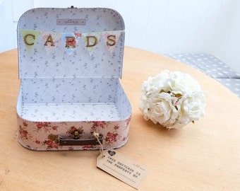 Sass & Belle Shabby Chic Floral Vintage WEDDING SUITCASE CARDS Box Bunting