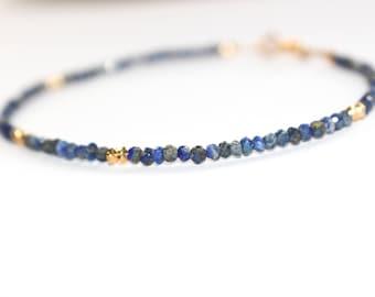 Dainty Lapis Lazuli anklet/ Stacking Anklet/ Lapis Lazuli jewelry/ Lapis anklet/ Petite anklet/ Blue Gemstone Anklet/ Anklet/ Gift for her