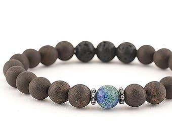 essential oil diffuser bracelet yoga bracelet mala beads meditation bracelet yoga jewelry lava beads rosewood azurite semi precious stones