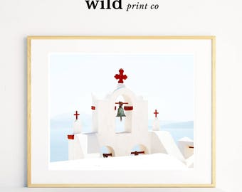 Greek Island Print, Modern Wall Art, Landscape Photography Print, Santorini, Island Art, Cross Photography, Modern Wall Decor, Cross Print