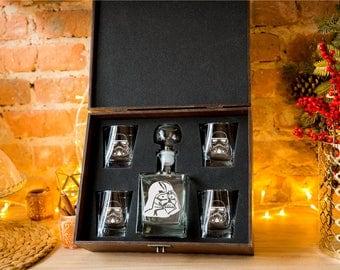 Darth Vader Whiskey decanter Set (17 oz.) & glasses STAR WARS Stormtrooper Mens gift Gift for him Gift for men Christmas gift Fathers gift