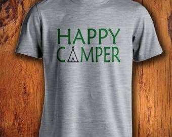 Men's Tshirt, Happy Camper Tshirt, Shirt for camping, outdoor shirt, adventure shirt, camper shirt, for him, christmas gift stocking stuffer