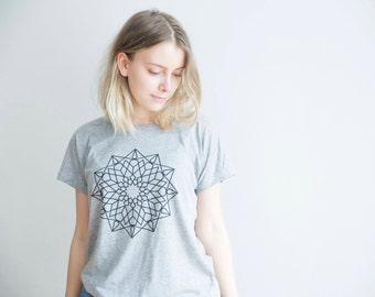 FREE DELIVERY! / Loose women Mandala T-Shirt for Good Decisions / Grey Mandala T-Shirt / Sacred Mandala Shirt / Mandala Top / Mandala Tee