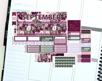 Floral/Autumn/Purple/Romantic September Monthly Kit Planner Sticker Kit for Erin Condren Life Planners