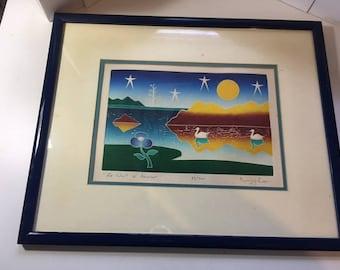 Etching Misha La Nuit de Amour Framed Artwork Signed Art Colorful Landscape