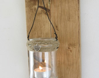 35 cm Rustic Reclaimed Pallet Wood shabby chic Wall Sconce with hanging mason jar Tea Light candle Lantern
