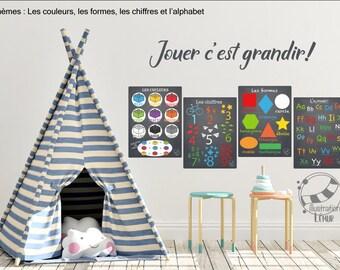 Décalque mural adhésif Affiches éducatives couleurs, chiffres, formes et alphabet :)