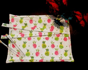 Pineapple Makeup Brush Roll, Pink and Green Pineapple Makeup Brush Roll, Makeup Brush Roll, Pineapple Print, Brush Roll, Gift for Friend