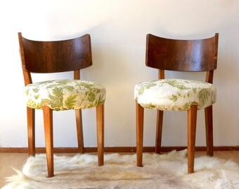Art Deco Walnut Chairs Curved Back | Mid Century Modern | Antique Dining  Table Chairs Wood