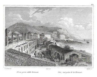 Nice, view from the terrace, antique print, Audot, 1835-37