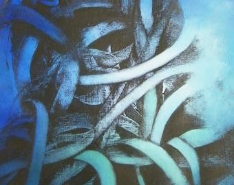 """Art  abstrait contemporain - Acrylique sur papier entoilé """"Peinture abstraite"""" Oeuvre originale - Volutes bleu-vert"""