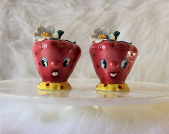 Vintage PY Anthropomorphic Strawberry Salt and Pepper Shakers