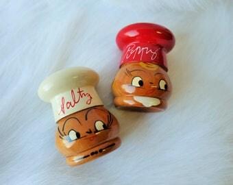 Vintage Salty & Peppy, Shakers, Hand painted, Japan