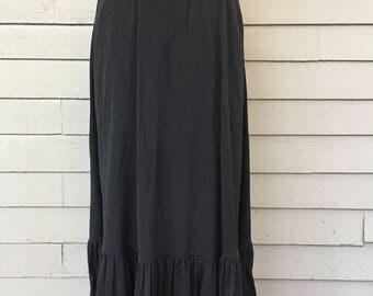 1960s Bohemian Black Ruffle and Lace Skirt from Bergdorf Goodman | Morty Sussman | 1960's - 1970's Boho Chic | XXS | Bohemian Skirt | Goth