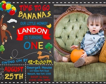 Curious George Birthday Invitation with Photo