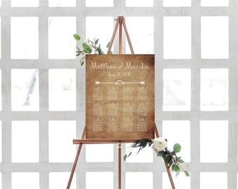 Seating Chart Template- Wedding Seating Chart- Wedding Seating Plan- Seating Chart Wedding Template- DIY Seating Chart- Rustic Wedding Decor