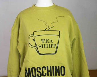 Moschino Vintage Sweater Tea Shirt 1990s 1980s  Khaki