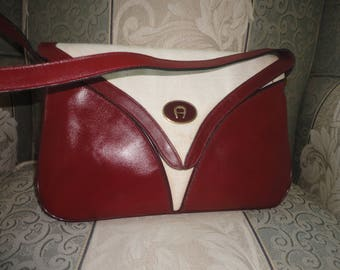 Vintage Etienne Aigner Leather & Canvas Handbag