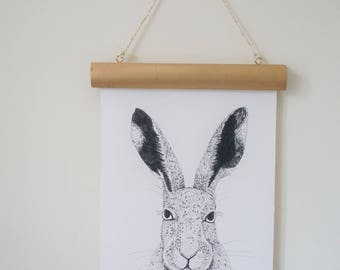 Hare Illustration/Woodland Hare Available in Various Sizes