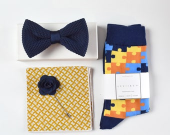 Navy bow tie set, Pocket Square, Socks, Lapel Pin. Men's Accessories, Wedding, Groomsman's Gift,Fathers day gift.