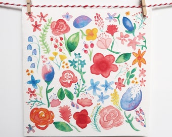 Colourful Floral Greeting Card