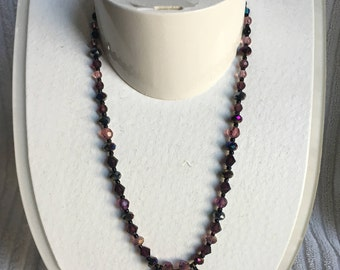 Plum Beaded Necklace - Faceted Crystal Necklace with Three Pendants