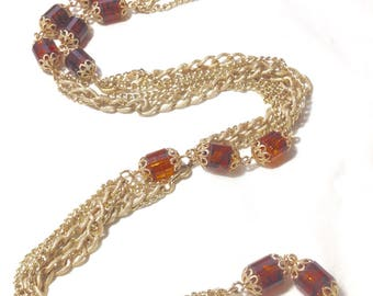 Vintage Sarah Coventry Goldtone and Amber Necklace