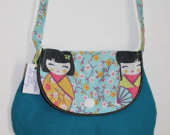 Chic bag for girl blue duck with Japanese doll