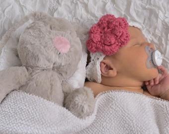 Crochet flower headband- Newborn girl headband- newborn photo prop