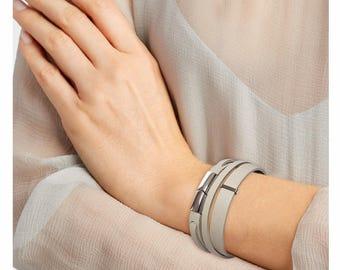 Grey genuine Leather Bracelet women