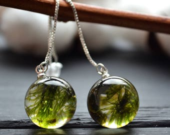 Inspirational Terrarium jewelry Moss Resin chain earrings  Moss long silver earrings Anniversary gift Valentines gift Wedding Gift for women