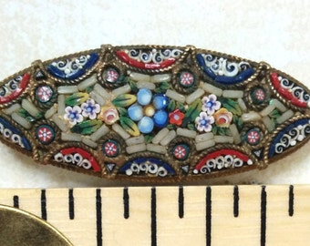 """Antique micro mosaic brooch Italian micromosaic pin 1.5"""" early 1900s floral mosaic bar pin blue forget-me-not flowers vintage mosaic pin"""