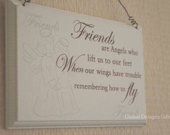 Sign Remembrance Plaque Friends Are Angels Who Lift Us To Our Feet Tribute Memories  F1045