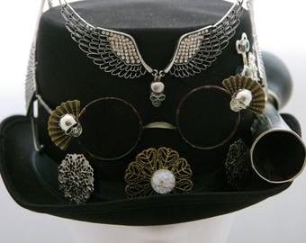 steampunkhat hat hut steampunk clock goggles gears cylinder zylinder tophat