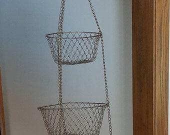 Tiered Wire Basket~Vintage Kitchen Wire Mesh 3 Tiered Hanging Baskets~Copper  Tone Wire