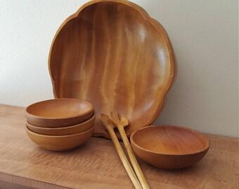 vintage wood salad bowl setcrafted wooden salad bowl 7 piece setwood salad - Wooden Salad Bowls