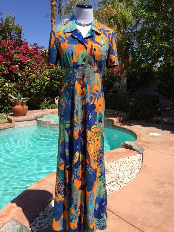 Vintage 90's Orange,Purple and Blue Saint Tropez West Button-Down Maxi Dress Size 4