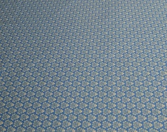Blue and Beige Pattern Vintage Reproduction Cotton Fabric