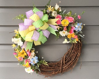 Spring Summer Wreath for Front Door, Spring Wreath, Pastel Wreath, Flower Wreath, Grapevine Wreath, Easter Wreath, Floral Wreath