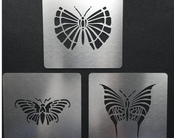 Art Deco Butterflies Stainless Steel Metal Stencils ( Set of 3) 5cm