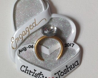 33% Off Personalized 2017 Engagement Christmas Ornament - We're Engaged! - She Said Yes! - Will You Marry Me? - Engagement Ring Favor Gift